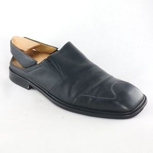 Vintage MEZLAN Black Square Toe Open Back Loafers
